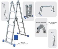 clow folding ladder to use as straight single section aframe double sided standoff and trestle ladder