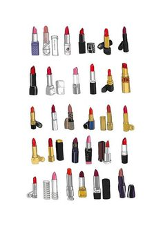 mini poster of an original ink drawing with digital coloring of 30 classic lipsticks $40