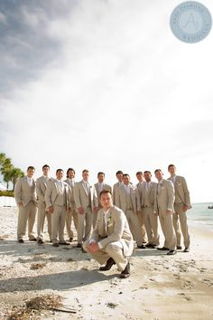 The Tan Suit is a Perfect Option for Your Beach Wedding Wedding Tux, Wedding Ceremony, Ceremony Dresses, Wedding Dresses, Bridal Party Poses, Beach Wedding Photography, Clearwater Beach, Beautiful Bride, Tuxedo