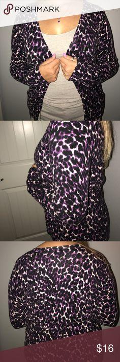 Purple Leopard Print Cardigan 💜 SO cute!!! Love this little cardigan😍 Merona Sweaters Cardigans