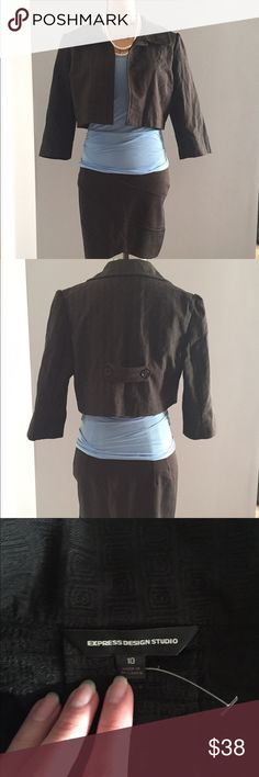 🌹 New Express cropped black blazer🌹 New Express cropped black blazer. Super stylish! Single button at neck, darting at ribs for feminine shaping, 3/4 sleeve. Square textured design in 4th picture. Tag size 10, but this appears to run small or be slim fitting. Estimate size 4-8. 60% cotton 39% polyester 1% Lycra.   *Skirt also available in separate listing Express Jackets & Coats Blazers