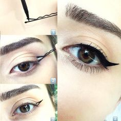 How to Apply Eyeliner - Hacks, Tips, and Tricks for Begginners Our tips on how to apply eyeliner are a game changer. Find out the hacks that actually work in practice and nail your eyeliner like a pro. Eyeliner Hacks, Eyeliner Make-up, How To Apply Eyeliner, Applying Eyeliner, Winged Eyeliner Tutorial, Black Eyeliner, Simple Eyeliner Tutorial, Eyeliner Styles, Winged Liner