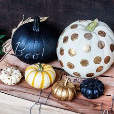 Can't make up your mind as to your favorite pumpkin decorating technique? Employ an assortment of looks to achieve a front porch vignette that feels collected yet coordinated. Here, gold and chalkboard paints are used to add texture and dimension to six plump, squatty, and playful pumpkins. (image credit: Emily Hirsch and Erick Steinberg)/