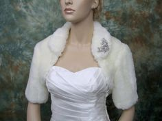 Ivory faux fur bolero jacket shrug Wrap FB004Ivory by alexbridal, $79.99