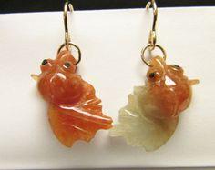Vintage Estate 14KT Smaller Carved Old Red Light Green Goldfish Jade Earrings by Alohamemorabilia