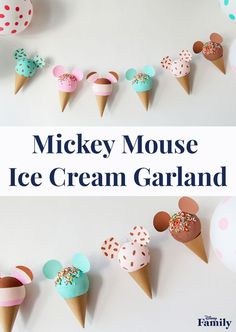 Whether you're prepping for a Disney-themed birthday or you simply want to take your summer home decor to the next level, this colorful DIY Mickey Mouse Ice Cream Cone Garland needs to be in your home Disney Crafts For Kids, Crafts For Teens To Make, Crafts To Sell, Disneyland Birthday, Disney Birthday, Easy Diy Crafts, Fun Crafts, Science Crafts, Bible Crafts