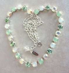 Swarovski crystal necklace, 8mm mint opal, mint green, AB  **SELECT-A-FINISH** Bridesmaids gift, Siggy Jewelry