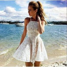 Cheap Lace Homecoming Dresses, Short Tulle Homecoming Dresses, Women Party Dresses, Lace Ivory Short Prom Dresses, Summer Dresses for Girls Semi Dresses, Lace Homecoming Dresses, Hoco Dresses, Prom Party Dresses, Pretty Dresses, Beautiful Dresses, Casual Dresses, Summer Dresses, Dress Party