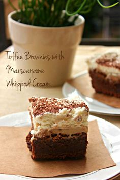 Toffee Brownies with Mascarpone Whipped Cream