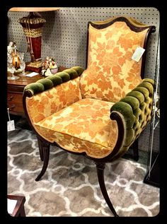 Rare 19th Century French Arm Chair. Hand Carved Mahogany wood. $825.00