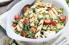 Lunch - Quinoa and bulgar salad with halloumi and courgettes