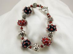 Bracelet Lampwork Glass in Red White and Blue by TheBeasKnees, $44.95
