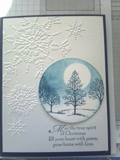 Snowflake embossed card with a circle of stamped snowy pine trees and the moon Stamped Christmas Cards, Homemade Christmas Cards, Hand Stamped Cards, Christmas Cards To Make, Xmas Cards, Homemade Greeting Cards, Greeting Cards Handmade, Homemade Cards, Embossed Cards