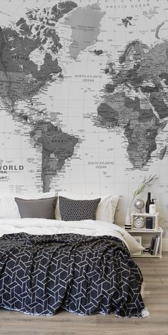 Links to wallpaper options with maps Love monochrome interiors? This stunning black and white bedroom is brought together with a larger than life map mural. Bursting with detail and character, this wallpaper mural is both breathtaking and sophisticated. Monochrome Interior, Interior Design, Monochrome Bedroom, Minimalist Interior, Modern Interior, Living Room Bedroom, Living Room Decor, Bed Room, World Map Wall Decor