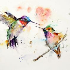 Hummingbirds in water colour