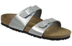 Birkenstock Sydney  Silver Birko-Flor  $80     Two thinner, contoured straps differentiate this from other Classics, making it comfortable for those with prominent foot bones. Of course, many people wear it just for its simple, casual elegance. Cork footbed conforms to match the shape of your foot and provides great support and comfort. Lightweight EVA soles provide flexibility and cushion and can be replaced when worn.