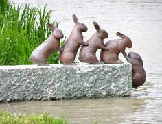 Rabbit sculpture - Lota-channel, Sweden  Isn't this in the movie Watership Down?