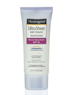 Neutrogena Ultra Sheer Dry-Touch Sunblock SPF - I use it everyday! (all year) Great sunblock, absorbs really well, not greasy so it doesn't make you look oily. Works well under make up. Sunblock protects skin from wrinkles and dark spots! Best Anti Aging, Anti Aging Skin Care, Best Sunscreens, Acne Scar Removal, Thing 1, Broad Spectrum Sunscreen, Sun Care, How To Get Rid Of Acne, Acne Remedies