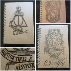 HARRY POTTER engraved note book, A4, A5, A6 gryffindor, slytherin,... ($14) ❤ liked on Polyvore featuring home, home decor and stationery