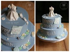 80th birthday - Sewing Cake.  Wedding dress on the dress form was a fondant replica of one made by the b'day girl for her daughters wedding years ago :) kez* x