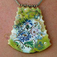 Handmade Ceramic Pendant Vintage Style  Apple Green by rachelcart, $44.00