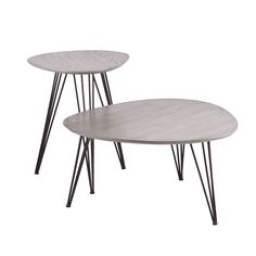 $179.00 - free shipping Nestle these tables together for a layered cocktail table or make use of them as individual end tables. Featuring tripod, quadruple hairpin legs and a matte gray tabletop on each