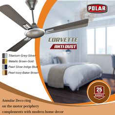 Anti-Dust Ceiling Fan from Polar to complement your interior. Decorative Ceiling Fans, Blue Pearl, Interior, Home Decor, Homemade Home Decor, Indoor, Decoration Home, Interiors, Interior Decorating
