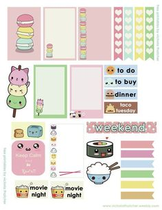 Super cute / kawaii stickers - printable for your planner rice, sushi stickers macarons and pastel colours borders, banners, checklists Estampas imprimibles para tu planificador o agenda. To Do Planner, Free Planner, Planner Pages, Happy Planner, Planner Ideas, Monthly Planner, College Planner, Passion Planner, Sticker Printable