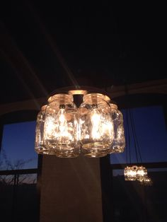 Masson jars chandeliers for @CakeMail new office