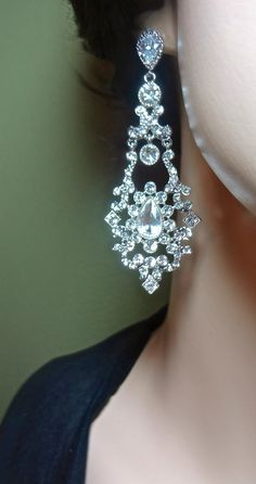 Bridal Jewelry - Rhinestone - Statement earrings - Sterling Silver posts - clear crystals -Vintage inspired-Romantic- Hollywood style -