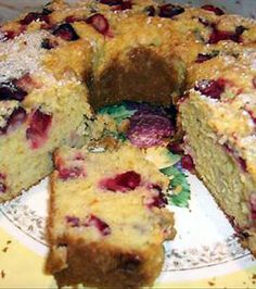 Cranberry Orange Quick Bread: 2 cups all-purpose flour 3/4 cup sugar 2 tsps baking powder 1/2 tsp baking soda 1 tsp salt 1/4 cup butter (shortening) 3/4 cup orange juice 1 tbsp grated orange (rind) 2 eggs (beaten) 1 cup cranberries (coarsely chopped, leave a few whole) 1/2 cup cherries (chopped glace green, optional):