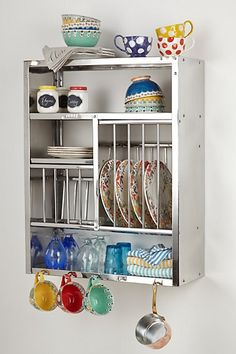 Chic Stainless Plate\Storage Rack for a Small Space or Cottage. From Anthropologie.