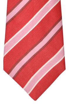 Kiton Sevenfold Tie Red Pink Stripes