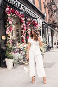 Little White Jumpsuit for Summer - Olivia Jeanette  There's just something about a white jumpsuit that says summer to me. You always look put together and polished in one. Did I mention they're comfortable?  Women's Fashion, Women's Style, Street Style, Summer Fashion, Summer Style, Date Night Outfit