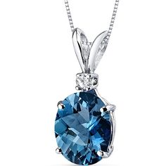 14 Karat White Gold Oval Shape 3.00 Carats London Blue Topaz Diamond Pendant. >>>Learn more by visiting the image link. (Amazon affiliate link)