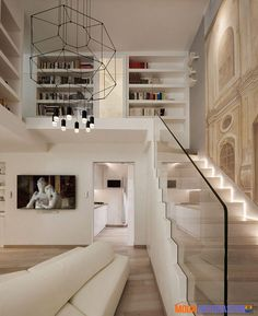 modern interior design Located near the Piazza Navona in Rome, Italy, this stylishly renovated penthouse in an ancient building was designed by Carola Vannini Architecture. Luxury Home Decor, Luxury Interior, Modern Interior Design, Interior Architecture, Cultural Architecture, Boat Interior, Residential Architecture, Luxury Penthouse, Luxury Apartments