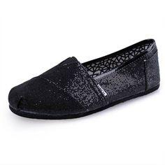 Toms shoes glitter black $22.88-tomsoutletonsale.org