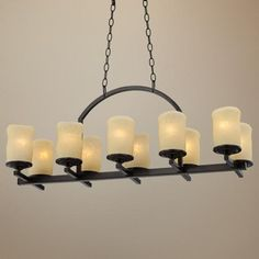 Rustic Candle Dark Bronze Wide Island Chandelier - favorite so far and E likes it best too Hallway Chandelier, Chandelier Lighting, Chandeliers, Candle Chandelier, Bronze, Candle Shades, Rustic Candles, Wall Lights, Ceiling Lights