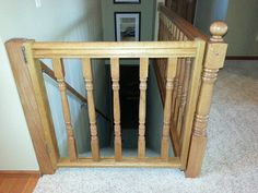 My Hubby And I Made This Gate Out Of Extra Spindles And Railing. Much Safer