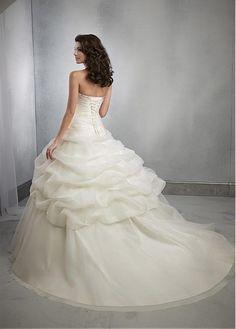 Buy discount Glamorous Organza Satin Sweetheart Neckline Dropped Waistline Ball Gown Wedding Dress at Dressilyme.com