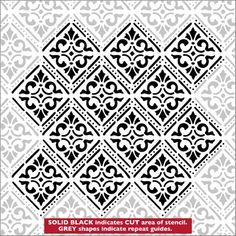 Damasco plantillas de la Biblioteca Stencil. Catálogo Stencil página vista rápida 1.