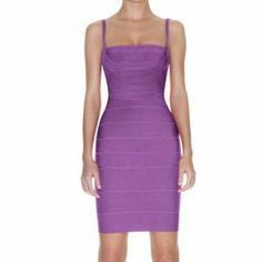 Herve Leger Reversible Square Neck Dress Purple