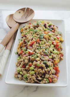 Thai-Inspired Barley Salad  1 1/2 cups uncooked barley 2 ripe mangoes 1 bell pepper 1/2 red onion 2 cups edamame (if frozen, thaw first) 1/2 cup Craisins 1/2 cup peanuts 2-3 tablespoons chopped cilantro 3-5 limes, depending on size (you want about 1/2 cup lime juice) 2 tablespoons balsamic vinegar 1 tablespoon honey salt + pepper