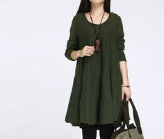 Cotton sweater/large size knitted sweater blouse casual loose sweater tops knitwear sweater dress plus size sweater cotton blouse -Darkgreen op Etsy, £36.94
