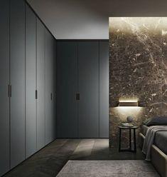 Quarto por Rimadesio. Hoogte en greep voor de inloopkast bij de ouder slaapkamer. Deze kast hoeft niet perse van een houtkleur te zijn, kan ook in een grijs of wit kleur.:
