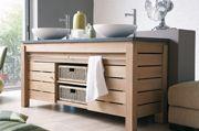 from Cuckfield bathrooms - modern classic vanity unit in oak or teak with stone worktop and double basin. Origin