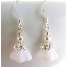 SALE, White Bell Flower Earrings, White Pearl Earrings, Clear... (€22) ❤ liked on Polyvore featuring jewelry, earrings, clear earrings, pearl earrings, bridal earrings, sterling silver jewelry and pearl jewelry