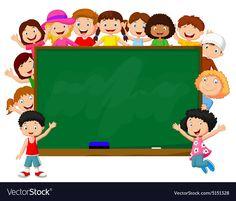 Crowd children with chalkboard vector image on VectorStock Classroom Background, Kids Background, Cartoon Background, Cute Pastel Wallpaper, Kids Wallpaper, Teachers Day Poster, Chalkboard Vector, Powerpoint Background Design, School Frame