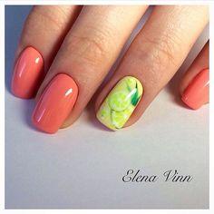 Bright colorful nails, Fruit nails, Juicy nails, Juicy summer nails, Lemon nails, Nails for orange dress, Square nails, Summer nails 2017
