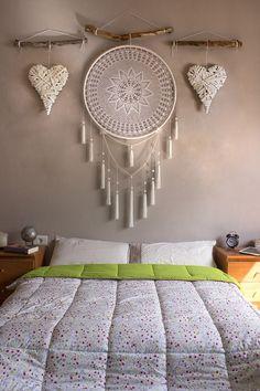 Dream Catcher Decor, Doily Dream Catchers, Crochet Dreamcatcher, Diy Crafts For Home Decor, Macrame Design, Macrame Patterns, Bedroom Decor, Decoration, Macrame Knots